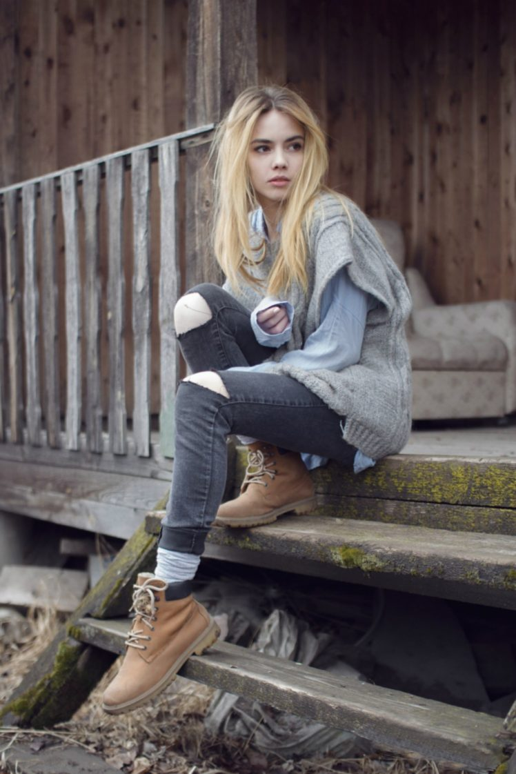 women, Blonde, Jeans, Villages, Stairs, Long hair HD