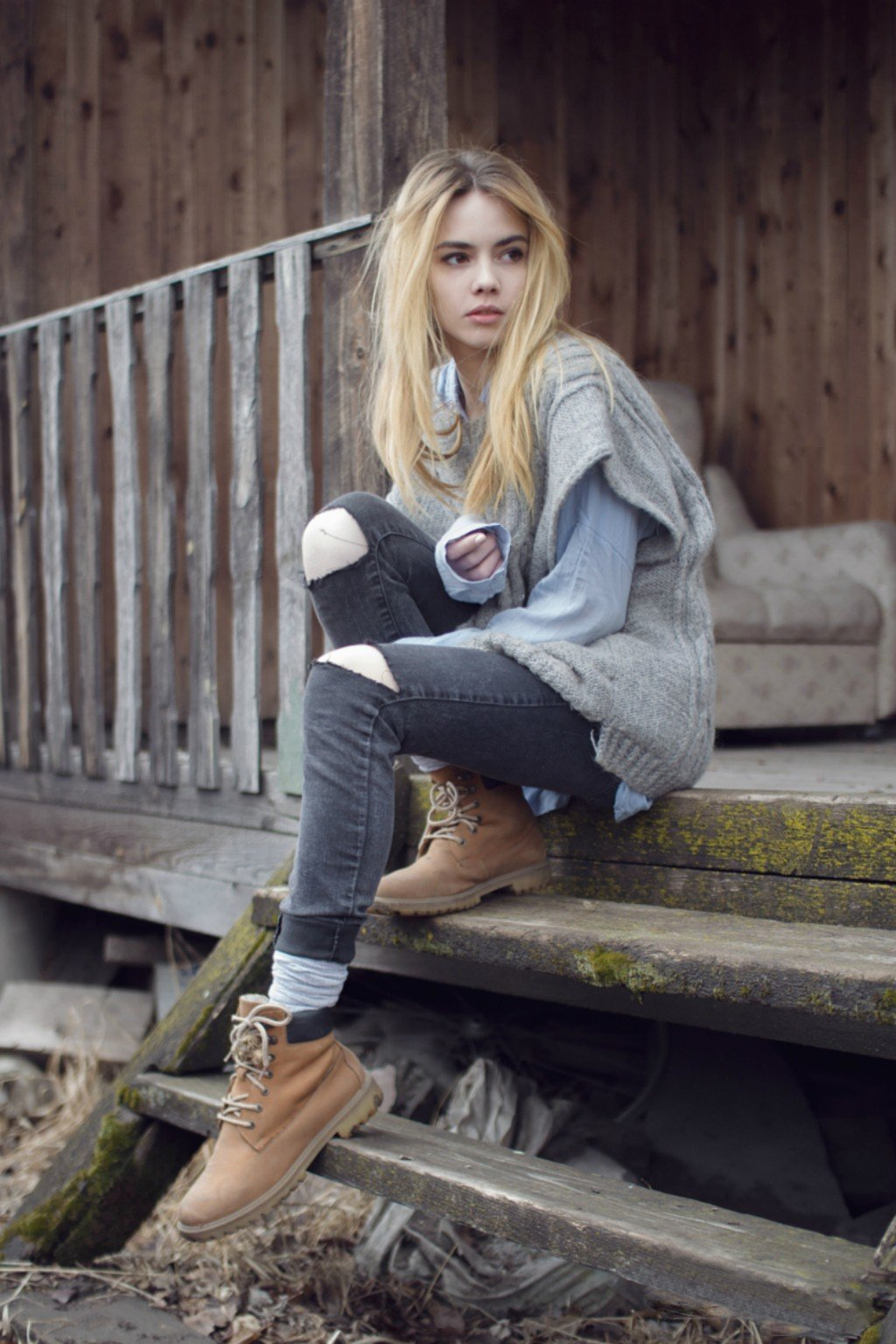 Women, Blonde, Jeans, Villages, Stairs, Long Hair Hd -6927