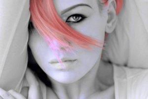 selective coloring, Adobe Photoshop, Pink hair, Model, Aleksandra Zenibyfajnie Wydrych, Cleavage