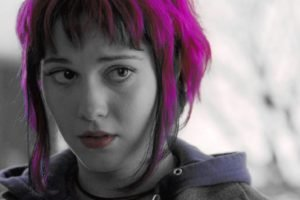 selective coloring, Adobe Photoshop, Ramona Flowers, Scott Pilgrim vs. the World, Mary Elizabeth Winstead, Pink hair, Actress