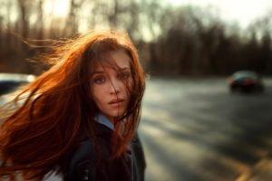 women, Redhead, Hair in face