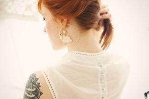 women, Redhead, Tattoo, Suicide Girls, AnnaLee Suicide, Back, Necks