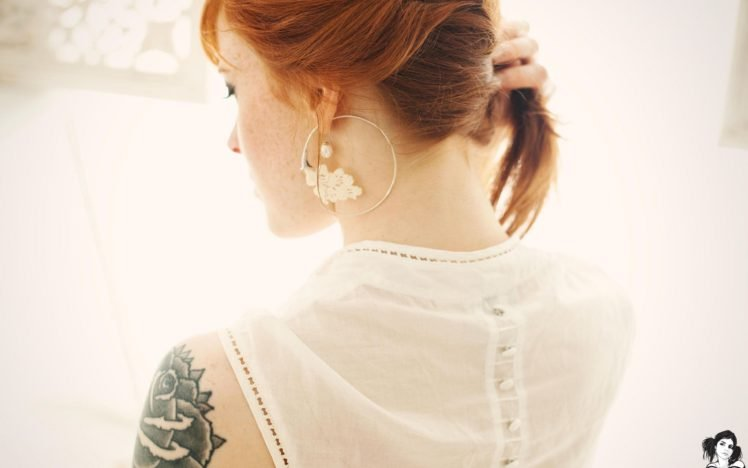 women, Redhead, Tattoo, Suicide Girls, AnnaLee Suicide, Back, Necks HD Wallpaper Desktop Background