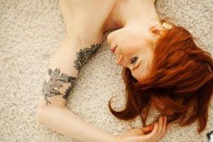 women, Redhead, Tattoo, AnnaLee Suicide, Lying down