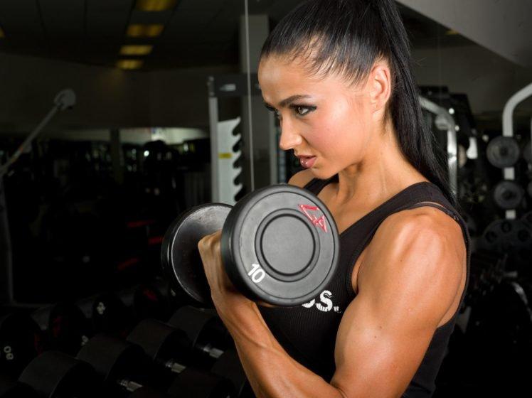 Sports Women Fitness Model Dumbbells Hd Wallpapers