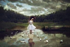 women, Women outdoors, Brunette, Dress, Reflection