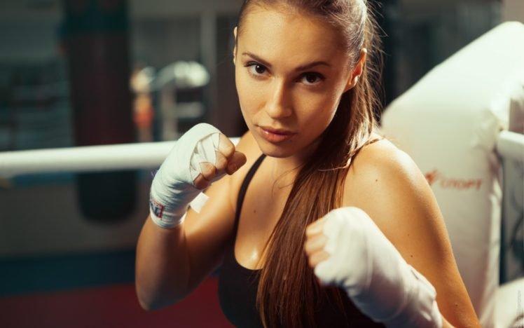brunette, Boxing HD Wallpaper Desktop Background