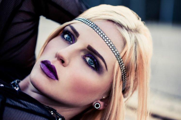 Makeup Purple Face Blonde Women Model Hd Wallpapers Desktop And Mobile Images Photos
