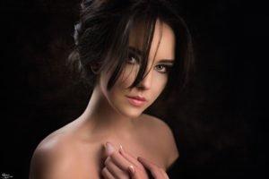 women, Model, Brunette, Green eyes, Bare shoulders, Portrait, Georgiy Chernyadyev
