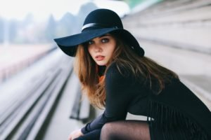 women, Model, David Olkarny, Brunette, Auburn hair, Blue eyes, Train station, Black outfits