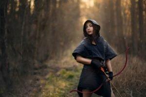 women, Nature, Arrows, Bows, Archers