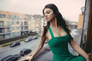model, David Olkarny, Classy, Women, Brunette, Green dress, Cleavage, Aurela Skandaj, Women outdoors, Dress, Necklace, Looking down