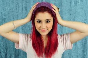 Ariana Grande, Redhead, Hands on head, Woolly hat, Women