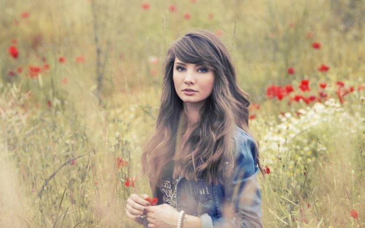 women, Model, Brunette, Long hair, Nature, Women outdoors, Looking at viewer, Open mouth, Blue eyes, Field, Poppies, Jacket HD Wallpaper Desktop Background