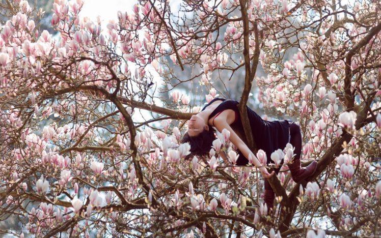 women, Model, Brunette, Long hair, Nature, Women outdoors, Asian, Trees, Flowers, Closed eyes, Black dress, Boots, Stockings HD Wallpaper Desktop Background