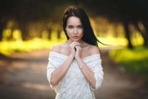 blue eyes, White clothing, Bare shoulders, Depth of field, Photography, Portrait, Model, Denis Petrov, Angelina Petrova, Women, Brunette, Women outdoors