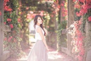 women, Brunette, Women outdoors, Flowers, Long hair, Asian