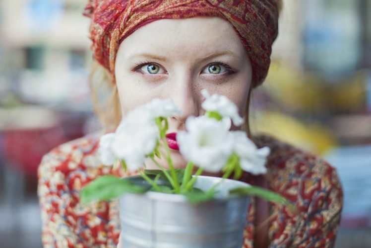 women, Face, Green eyes, Redhead, Freckles, Flowers, Red lipstick HD Wallpaper Desktop Background