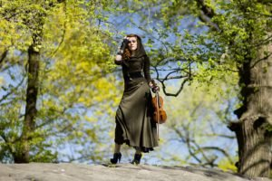 violin, Women outdoors, Music, Trees, Women