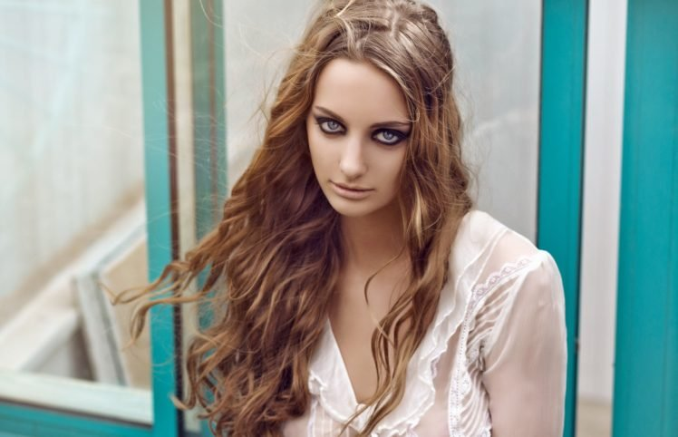 women, Face, Portrait, Blonde, Blue eyes, White tops HD Wallpaper Desktop Background
