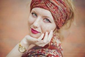 women, Redhead, Face
