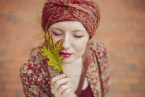 women, Redhead, Face, Leaves, Closed eyes