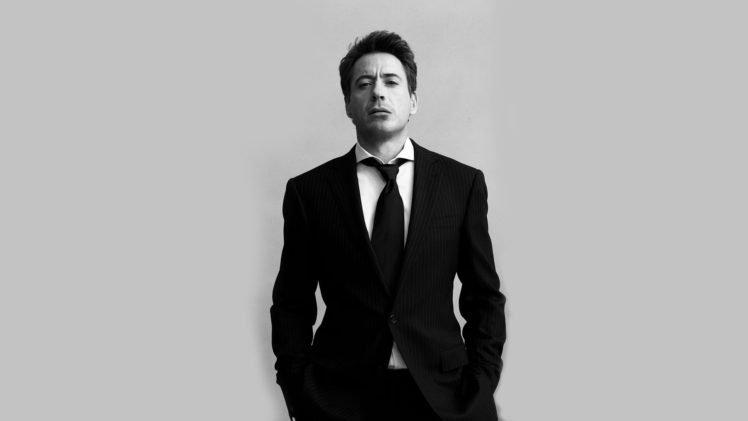 Men Robert Downey Jr Monochrome Suits Tie HD Wallpaper Desktop Background