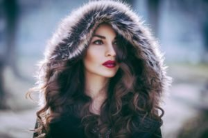women, Brown eyes, Red lipstick, Fur coats, Auburn hair
