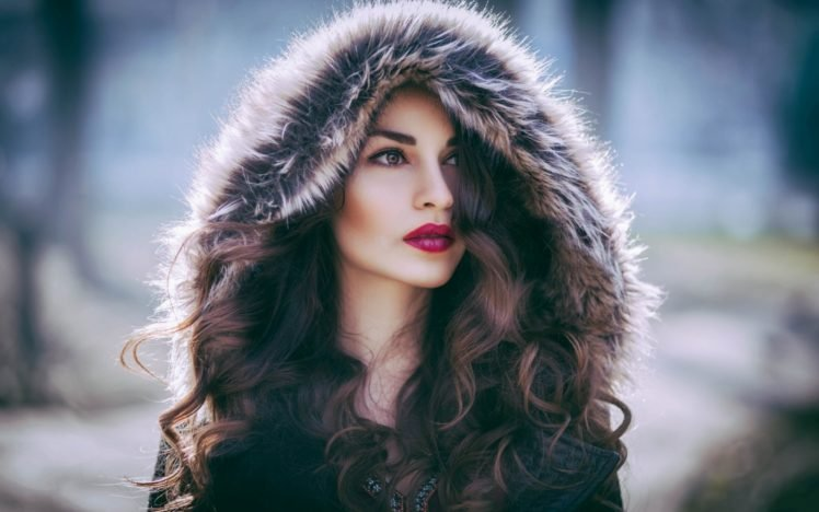 women brown eyes red lipstick fur coats auburn hair hd