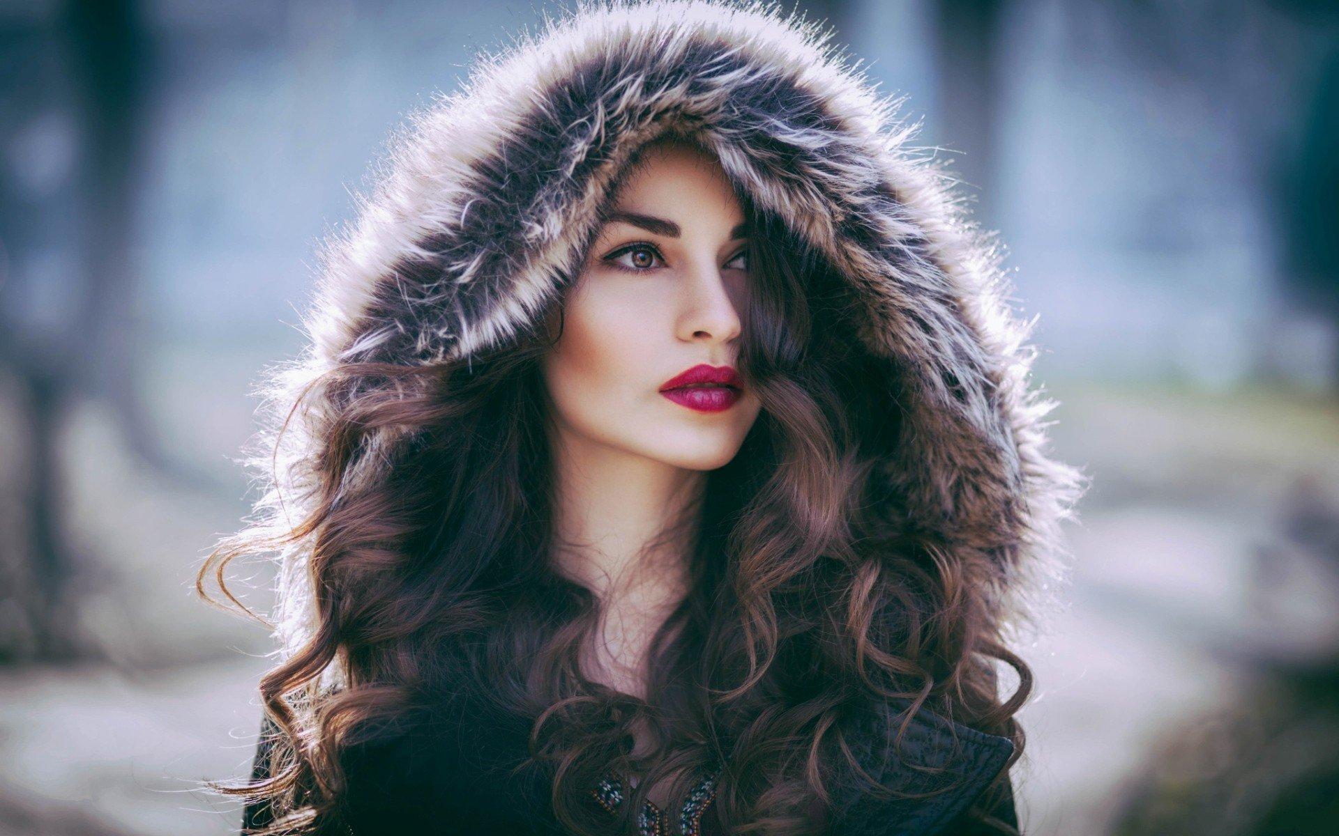 Red Lipstick Brown Hair Blue Eyes: Women, Brown Eyes, Red Lipstick, Fur Coats, Auburn Hair HD