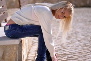 Annely Gerritsen, Jeans, White tops, Blonde, Women outdoors, Pornstar