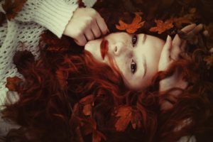 redhead, Face, Women, Leaves, Freckles, Sweater, Long hair, Red lipstick