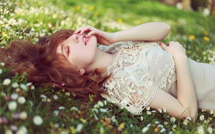 women, Lying down, Closed eyes, Auburn hair, Flowers, Grass HD Wallpaper Desktop Background