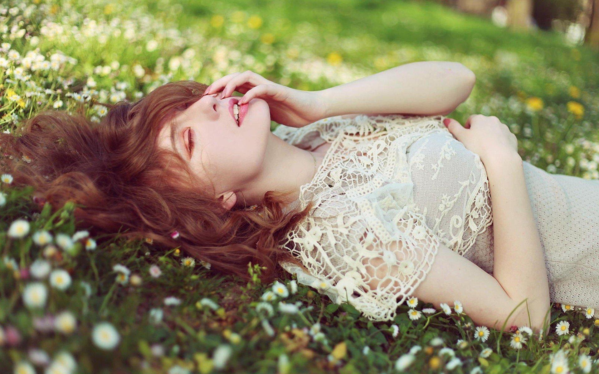 women, Lying down, Closed eyes, Auburn hair, Flowers, Grass Wallpaper