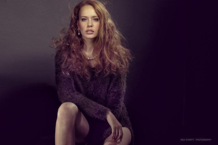 women, Model, Redhead, Curly hair, Green eyes, Ralf Eyertt, Filter HD Wallpaper Desktop Background