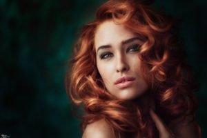 women, Model, Redhead, Curly hair, Green eyes, Portrait, Georgiy Chernyadyev