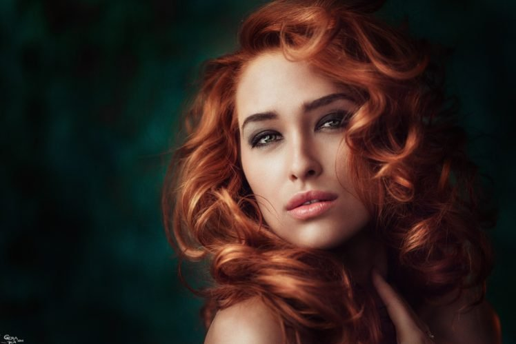 women, Model, Redhead, Curly hair, Green eyes, Portrait, Georgiy Chernyadyev HD Wallpaper Desktop Background
