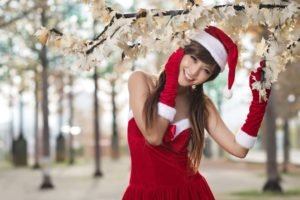 Asian, Long hair, Auburn hair, Santa, Santa costume, Christmas, Agnes Lim, Smiling