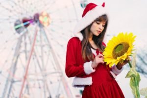 women, Asian, Long hair, Auburn hair, Santa, Santa costume, Christmas, Agnes Lim, Sunflowers