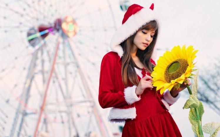 women, Asian, Long hair, Auburn hair, Santa, Santa costume, Christmas, Agnes Lim, Sunflowers HD Wallpaper Desktop Background