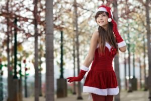 women, Asian, Long hair, Auburn hair, Santa, Santa costume, Christmas, Agnes Lim