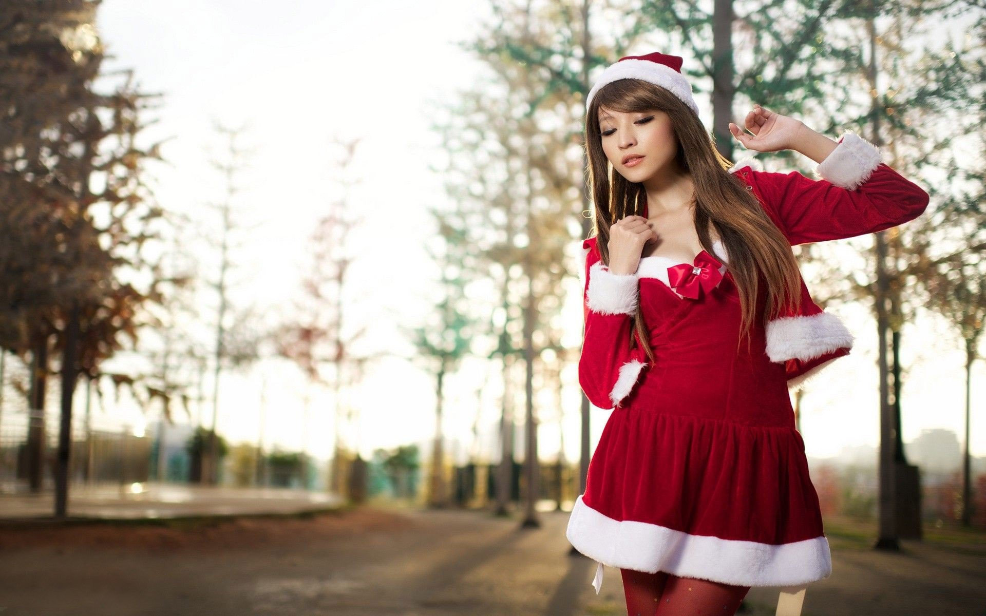Women, Asian, Long Hair, Auburn Hair, Santa, Santa Costume -6667