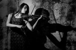 music, Women, Monochrome, Violin