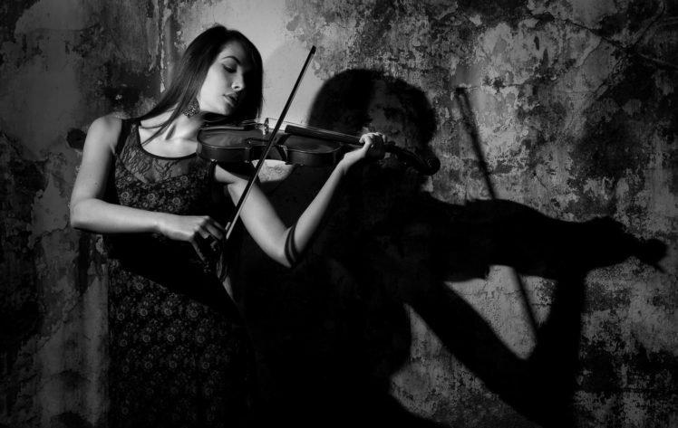 Music Women Monochrome Violin HD Wallpaper Desktop Background