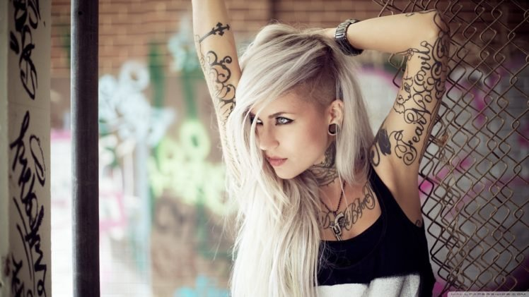 blonde, Model, Tattoo, Women, Long hair, Sara Fabel HD Wallpaper Desktop Background