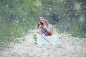 women, Music, Violin, Women outdoors