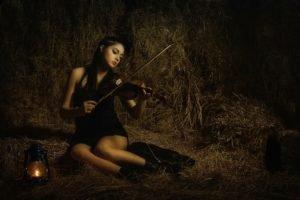 violin, Music, Women, Brunette
