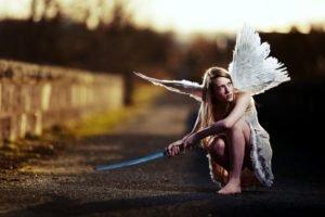 sword, Blonde, Women, Dress, White dress, Wings