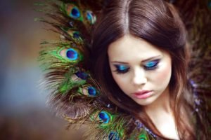 women, Model, Brunette, Long hair, Face, Portrait, Looking down, Makeup, Feathers, Peacocks, Depth of field
