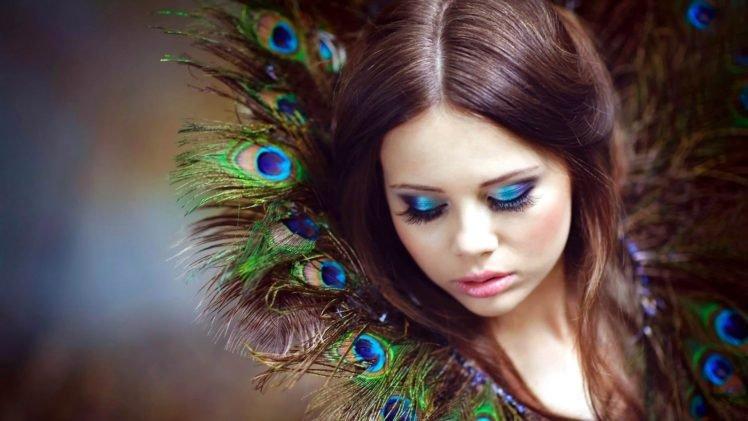 women, Model, Brunette, Long hair, Face, Portrait, Looking down, Makeup, Feathers, Peacocks, Depth of field HD Wallpaper Desktop Background